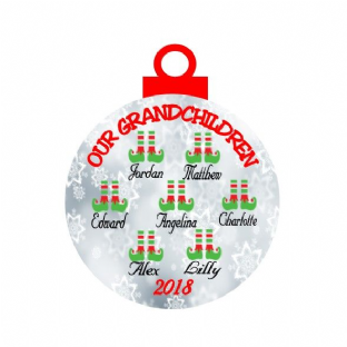 Our/My Grandchildren Elf Christmas Ornament Decoration